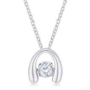 Jewelry - .85Ct Rhodium Plated Horseshoe Dancing Pendant